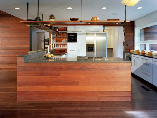 minimalist wooden house with modern kitchen concept