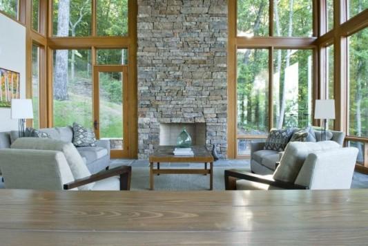 modern naturally lake house living room design