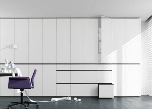 modern and elegant white gloss lacquer wardrobes system
