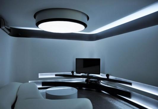 modern apartment living room design with full LED lighting