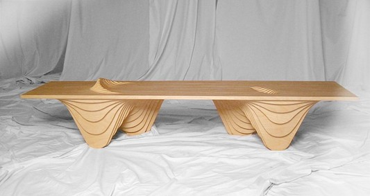 modern artistic plywood bench design
