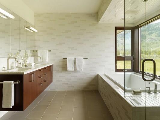 modern bathroom with luxury bathtub and washbasin wood color