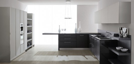 modern black and white kitchen concept