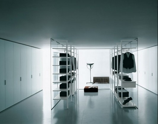 modern black and white walk-in closet storage organization