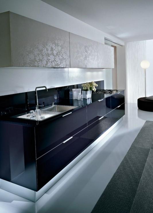 natural uno white high gloss kitchen design interior | Glossy and Natural Oak Matte Laminate Dry Kitchen Modern ...