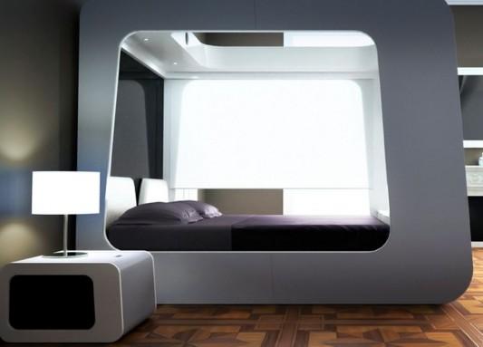 modern canopy bed futuristic design