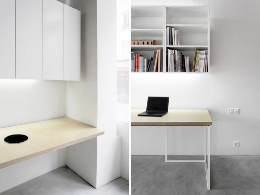 modern clean and minimalist office interior with simple furniture