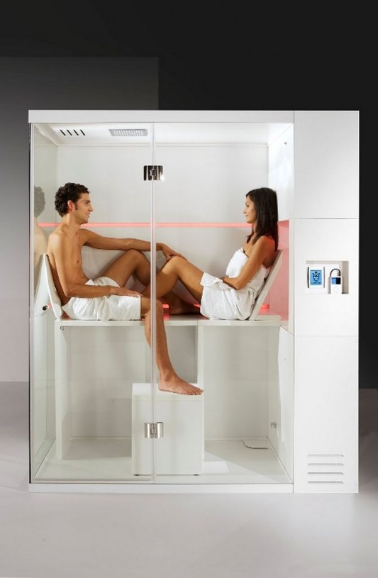 modern compact shower box with dry sauna