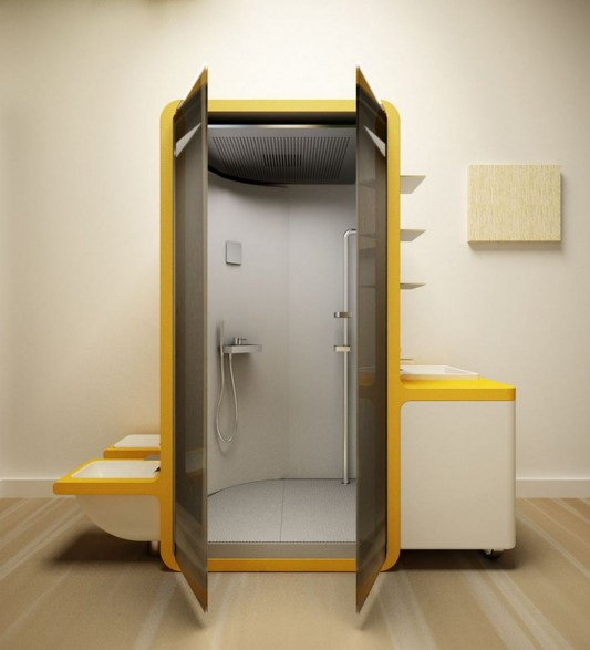 modern contemporary compact bathroom design with water saving system