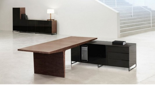 Contemporary Natural Wood Office Desk And Black Cabinet By AG Land Enchanting Modern Wood Office Furniture