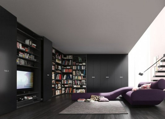 modern contemporary wardrobes with bookshelves function for openness living space