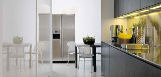 modern kitchen hallway connected to the dining table