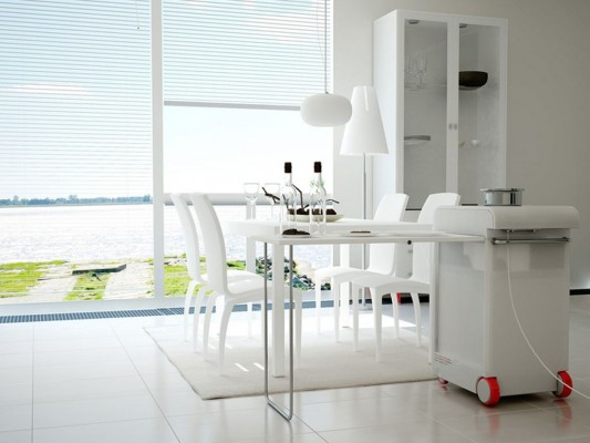 modern kitchen with folding table on both sides