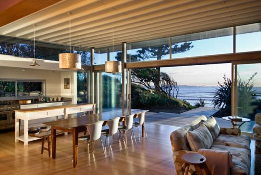 modern living room raumati beach house