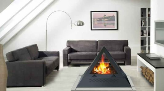 modern living room with pyramid fireplace