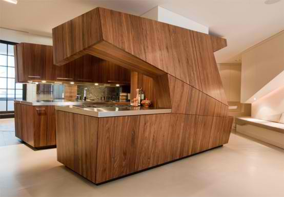 Furniture Design Wood loft interior design combine with kitchen inside using wood