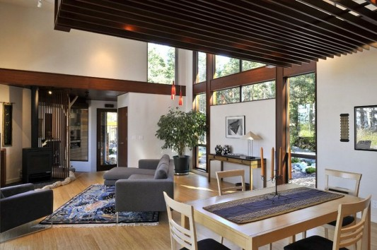 modern minimalist Lopez island residence comfortable naturally living room