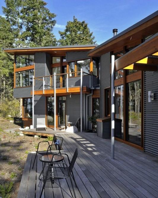 modern minimalist Lopez island residence deck design