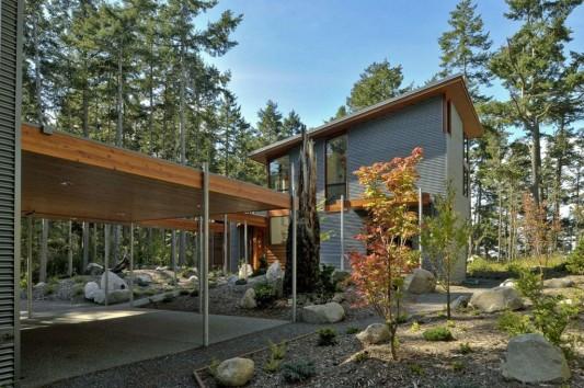 modern minimalist Lopez island residence exterior design