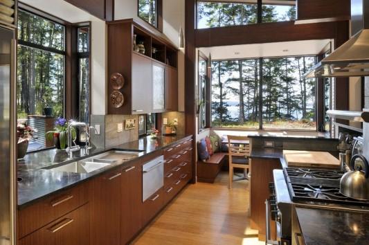 modern minimalist Lopez island residence naturally kitchen design