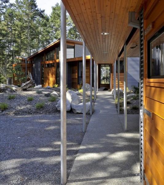 modern minimalist Lopez island residence terrace design