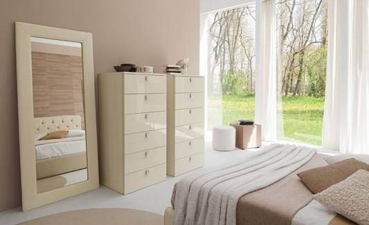 modern minimalist bedroom cabinet furniture with stylish mirror