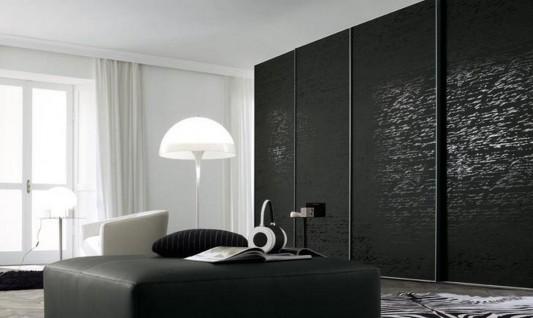 modern minimalist black Italian walk-in- wardrobes system