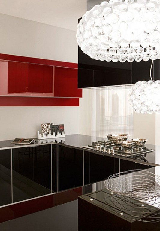 modern minimalist black and red lacquered kitchen design