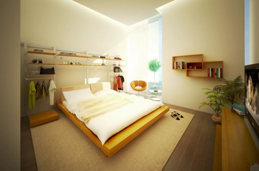 Minimalist master bedroom design with green concept by Modern minimalist master bedroom