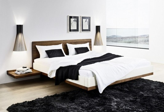modern minimalist solid walnut bed design