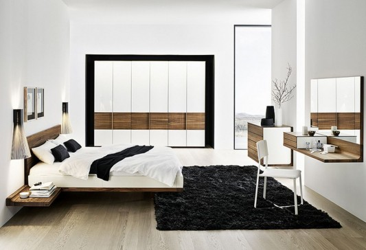 Contemporary Solid Walnut Bedroom Furniture Set, Riletto by ...
