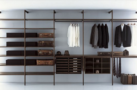 modern minimalist walk-in-closet system