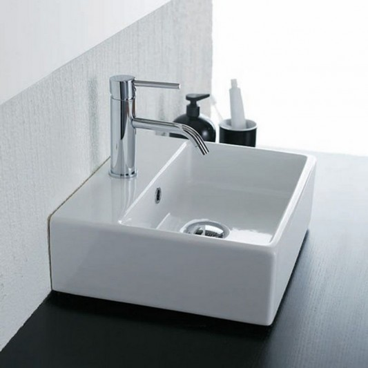 modern minimalist white gloss ceramic washbasin with faucet
