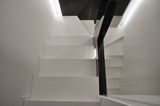 modern minimalist stair with LED lighting