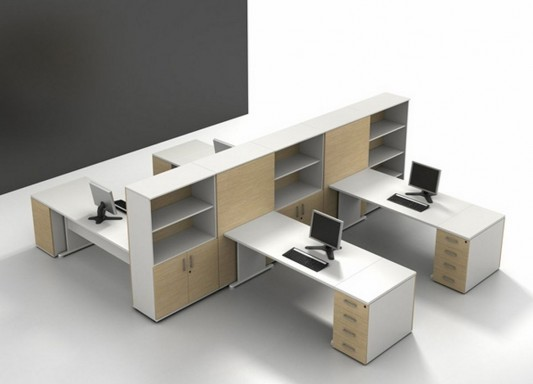 modern office furniture with cabinet as partition design