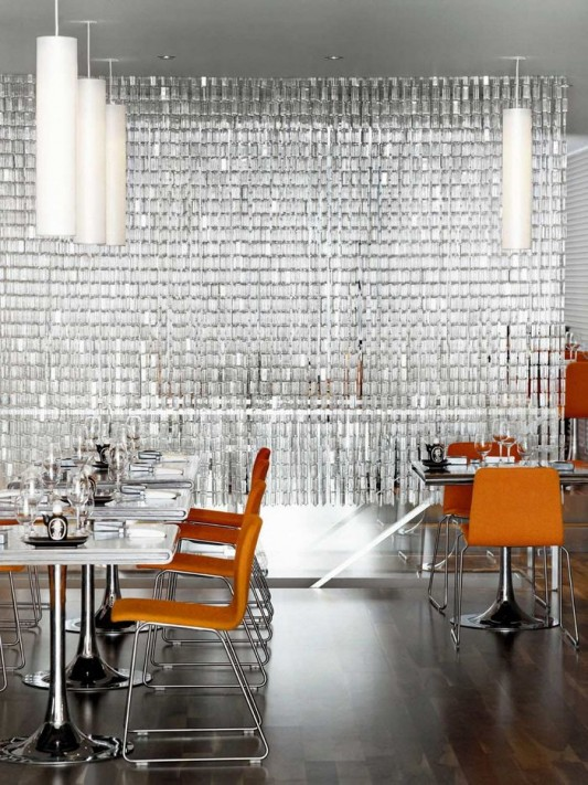 modern restaurant interior with glass curtain partition