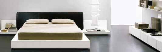 modern stylish Italian beds built in side table