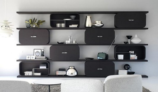 modern stylish curved plywood shelving system