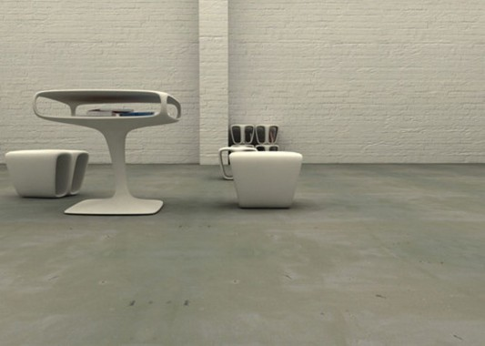 modern table and bench with shelving function