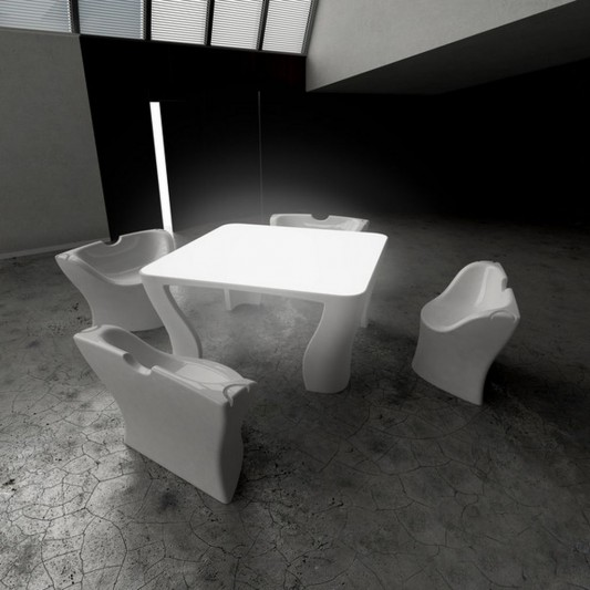 modern table and chair compact design built-in lamps