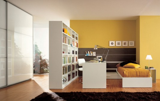modern teen bedroom with bookshelves and minimalist wardrobes