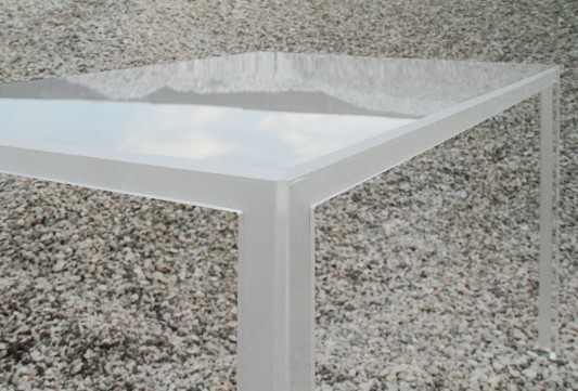 modern transparent white top stackable table