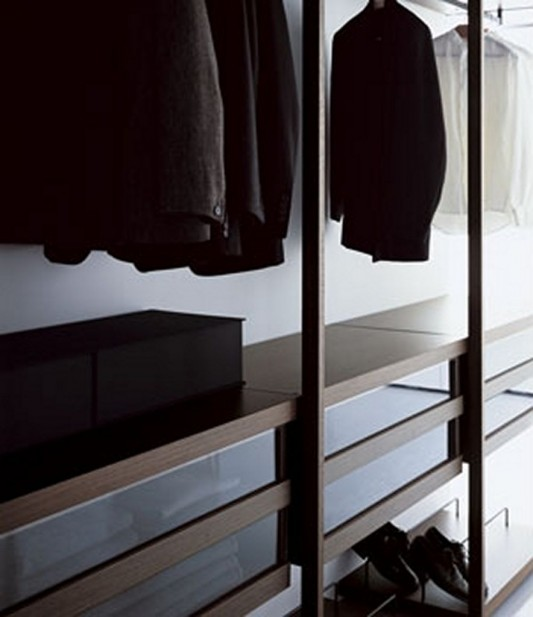 modern walk-in closet storage system