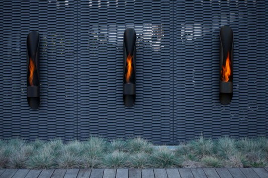 modern wall mounted outdoor fireplaces design