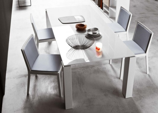 Modern White Lacquer Dining Table Design Ideas 1