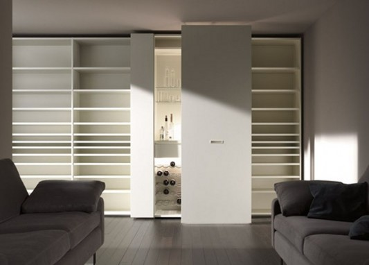 modern white gloss wardrobes with display rack