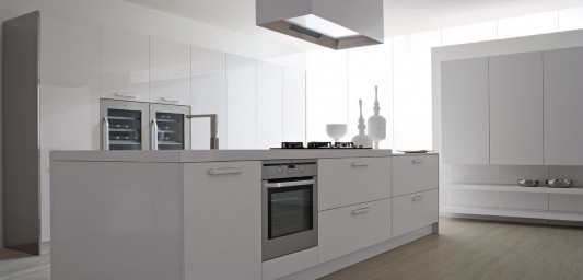 modern white lacquer compact kitchen island design