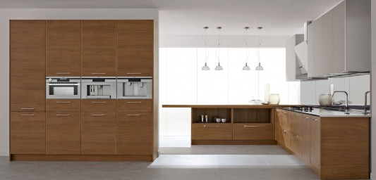 modern wooden and white lacquered kitchen design