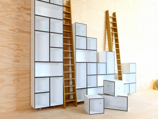 modular library cabinet design with upstairs