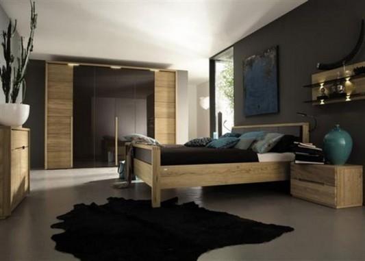 natural bedroom interior with wooden furniture set